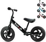 Hadwin Laufrad Kinder ab 1-4 Jahre Balance Fahrrad 12 Zoll Lauffahrrad Sport mit Stahlrahmen, Verstellbarer Lenker & Sitz für Kinder Schwarz