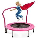 Merax Trampolin Kinder Indoor Fitness Klein Faltbar Klappbare Kindertrampolin TÜV-Geprüft Minitrampolin Indoortrampolin mit Haltegriff für Jumping Fitness bis 80kg (Rosa)