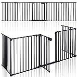 KIDUKU® Kaminschutzgitter Metall 305 cm | Absperrgitter faltbar | Konfigurationsgitter inkl. 5 Elementen, Tür