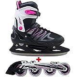 Cox Swain 2 in 1 Kinder Skates-/Schlittschuh -Joy- LED Leuchtrollen, ABEC 7 Carbon Lager, Colour: Black Pink, Size: S (33-36)