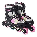 L.A. Sports Inliner Skate Soft Kinder Jugend Damen Größenverstellung 5 Größen verstellbar (29-33, Silbergrau-pink)