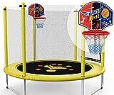 Mopoq Kinder Mini-Trampolin, Garten Trampolin mit Sicherheitsnetz - PE Schutznetz + Basketballkorb, 1,5 m Innen- und Außen kleines Spielzeug Trampolin