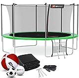 Hop-Sport Trampolin Outdoor Ø 366 cm – Gartentrampolin Komplettset mit stabilen U-Beinen, innenliegendem Netz, Sprungtuch und Leiter sowie Extra-Zubehör, grün