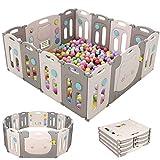 Faltbarer Baby Laufstall, 14-Paneele Laufgitter aus Kunststoff, Baby Absperrgitter mit Sicherheitstürschloss und Spielzeug-Platte, Schutzgitter für Kinder ab 3 Monaten