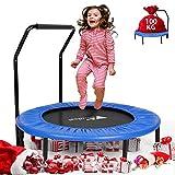 amzdeal Fitness Trampolin, Ø ca 92 cm, Kindertrampolin Sprungmatte Zusammenklappbar Sport Trampolin für den Innen- und Außenbereich - Professionelles Rundsprung-Cardio-Trampolin Haltegriff, bis 100kg
