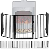 Juskys Metall Kaminschutzgitter 300 x 76 cm klappbar – Schutzgitter für Tiere – 5 Elemente inkl. Tür – Laufgitter Absperrgitter