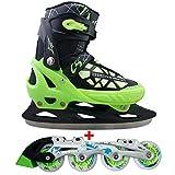 Cox Swain 2 in 1 Kinder Skates-/Schlittschuh -Blake- LED Leuchtrollen, ABEC 7 Carbon Lager, Schwarz/Grün, M (37-40)