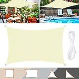 TedGem Sonnensegel, Sonnensegel Wasserdicht, Sonnenschutz Balkon, Sonnensegel Hergestellt aus hochwertigem Polyester, 160 g / m2. für Garten/Balkon/Terrasse (3x4M)