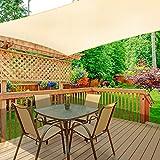 WOKKOL Sonnensegel, Sonnensegel Rechteckig, Sonnensegel Garten, Sonnenschutz Balkon, Überlegene Reißfestigkeit, 90% UV-beständig, Atmungsaktiv, 185 g/㎡ HDPE mit Dichte, für Terrasse/Garten(2M x 3M)